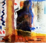 Orange Pool, 28cm x 30cm, mixed media collage, £320