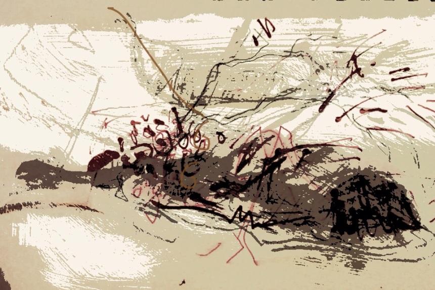 Landslip, 2013, pencil, ink, gouache, digital print.