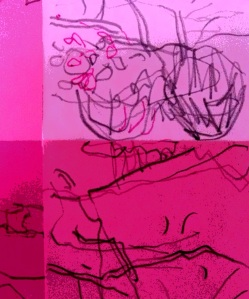 detail of post-it note sketches