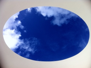 the view of the sky through the oval