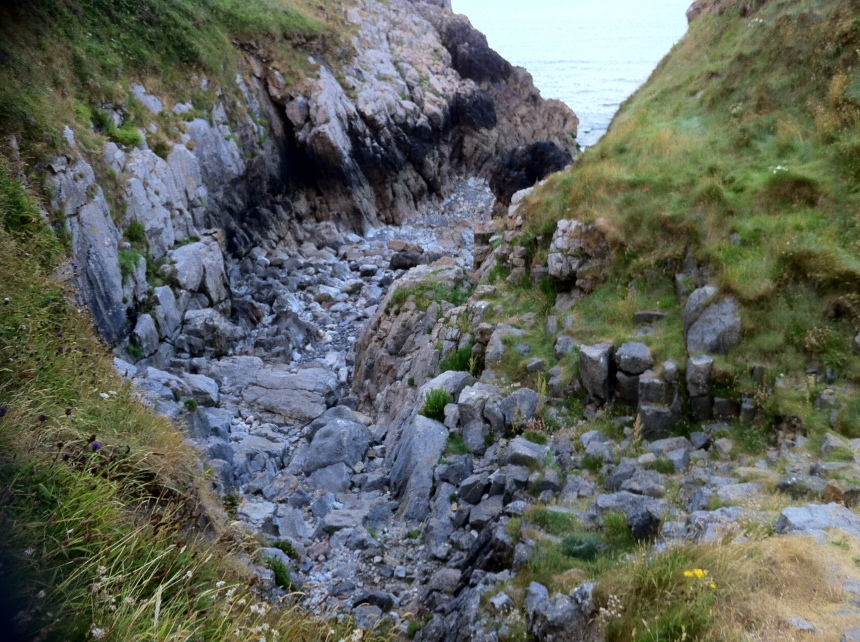 deep gully leading to the sea