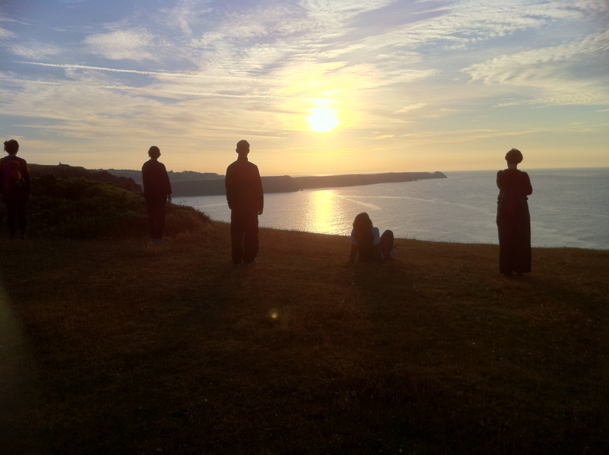The 'meerkat' group looking out towards Caldey Island (just out of view on the right), home to a community of Cistercian monks.