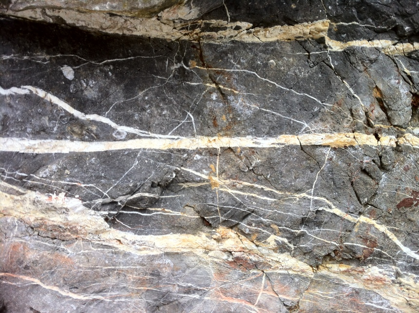 quartz veins - here a wonderfully clear horizontal line in the cliff face