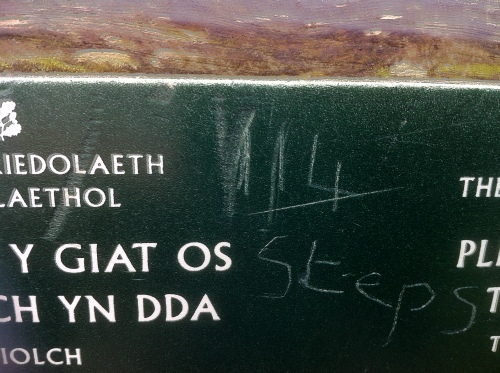 a rather crude reminder of the amount of steps on the steep climb on the 'dawn' walk