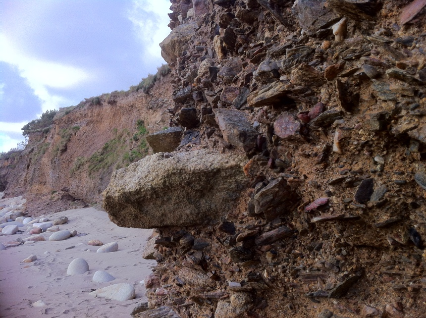 exposed rock fragments
