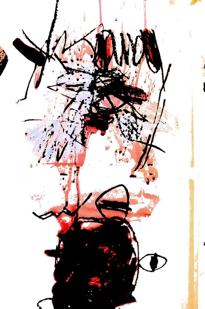 those pesky flies, mixed media on paper