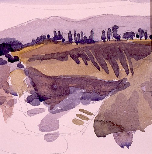 Tuscany, watercolour on paper