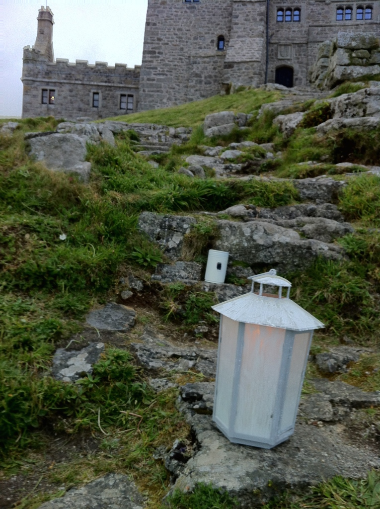 Lantern and pin-hole camera placed on the Michael Line, St Michael's Mount.