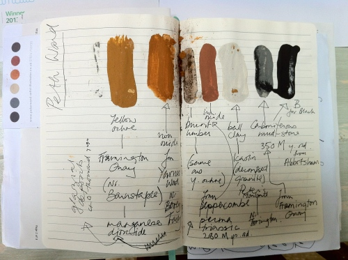 my notes showing the mud and water mixtures using earth pigments from Peter Ward's workshop .