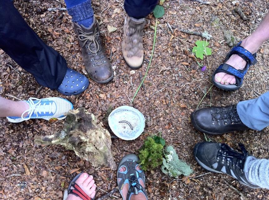 a mandala of pilgrim feet